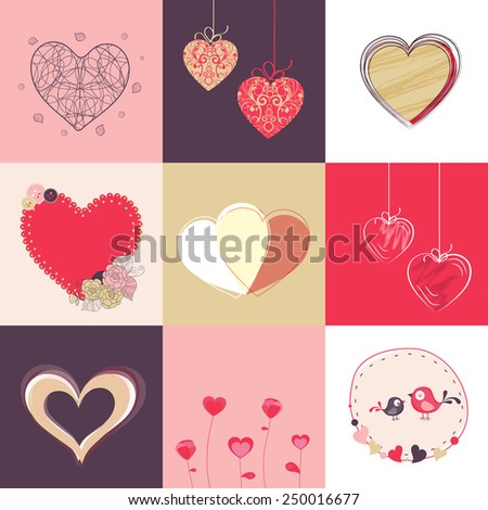 Collection of hearts with love bird for Happy Valentine's Day celebration.