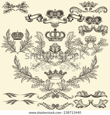 Collection of heraldic frames in vintage style for design - stock vector