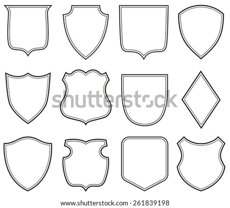 Collection of heraldic shield shapes - stock vector
