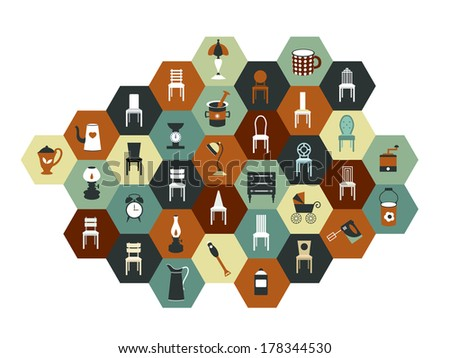 Collection of hexagonal flat icon. Various chairs, lamps and kitchen instruments. - stock vector
