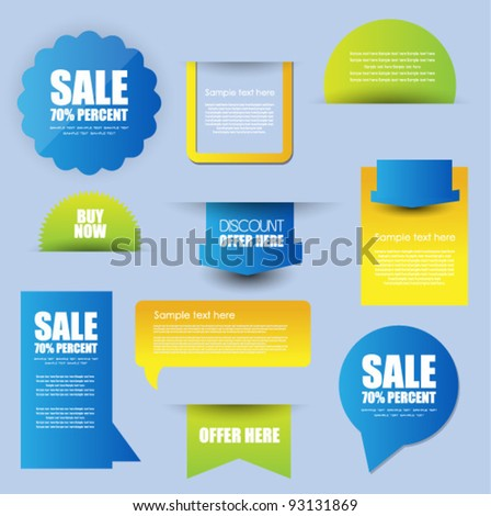 collection of hi quality sticker badges tags and comment box - stock vector