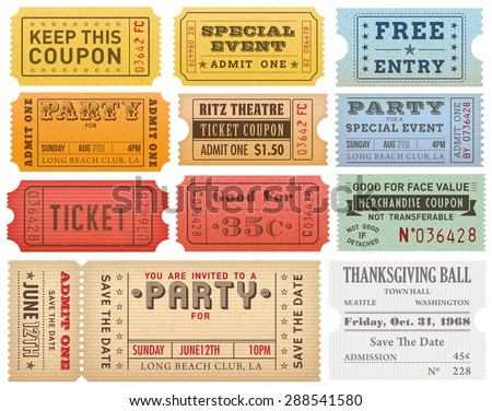 Collection of High detail Vintage grunge Tickets and Coupons vector illustrations - stock vector