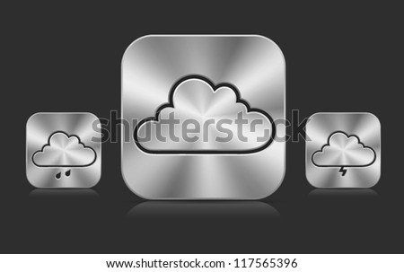 Collection of high-detailed XXL metallic buttons with cloud weather icons, with transparent reflection and shadow. Image contains transparency - you can put them on every surface. 10 EPS