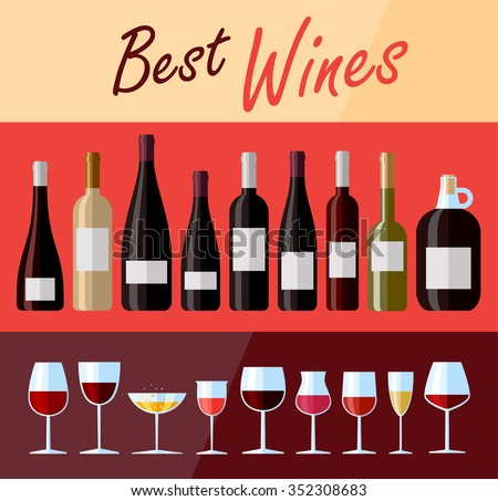 Collection of high quality premium wines. Flat design illustration of wine bottles and glasses with various types of wine
