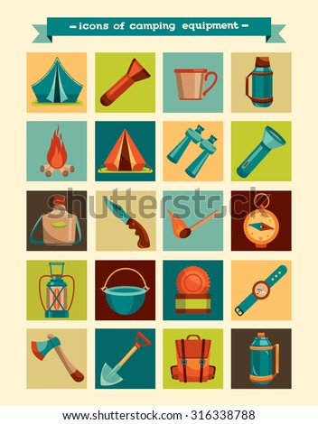 Collection of hiking icons - vector camping equipment.  - stock vector