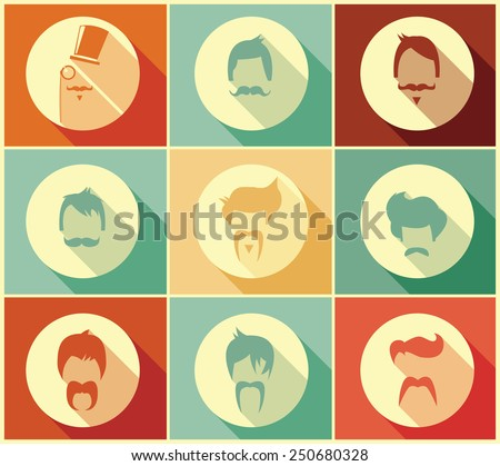 Collection of hipster retro hair styles and mustaches, vector illustration - stock vector