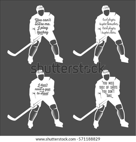Collection of hockey motivational quotes winter sports typographic art for poster print greeting card