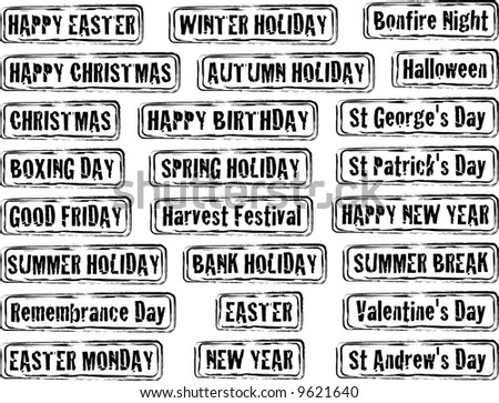 Collection of holiday dates and day in stamp form - stock vector