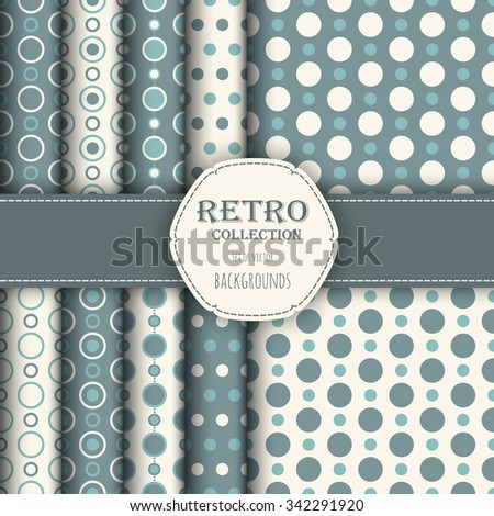 Collection of Holiday seamless patterns with polka dot and jumbo polka dot. Perfect for wallpapers, pattern fills, web backgrounds, birthday and wedding cards - stock vector