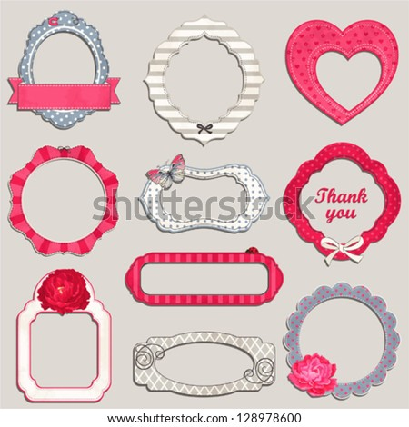 Collection of holidays framework with flowers, butterfly and bows with an empty seat for your text. - stock vector