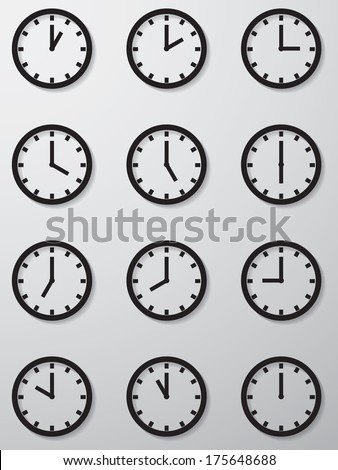 collection of 12 hours clock face icon. vection - stock vector