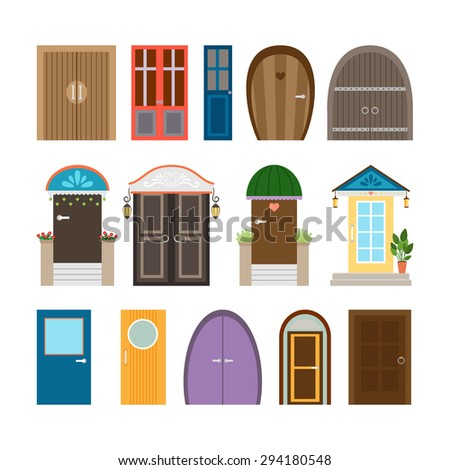 Collection of house doors. Wooden and architecture doorway, entrance and front frame, exit and enter. Vector illustration - stock vector