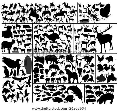 Collection of hundred vector silhouettes of different domestic and wild animals. To see similar please visit my gallery.
