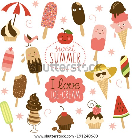 Collection of Ice Cream  - stock vector