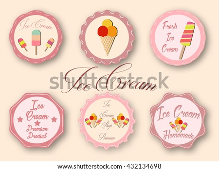 Collection of Ice Cream labels - stock vector