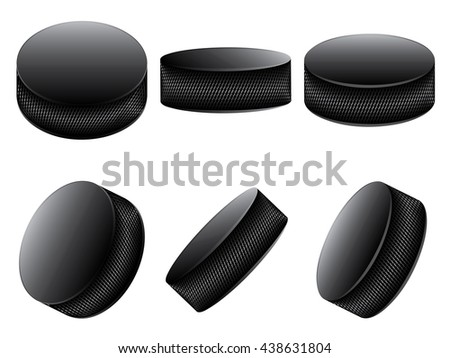 Collection of ice hockey pucks on white background. - stock vector