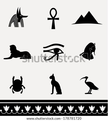 Collection of icons - ancient egypt. VECTOR illustration. - stock vector