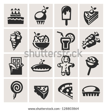 Collection of icons. Desserts. - stock vector