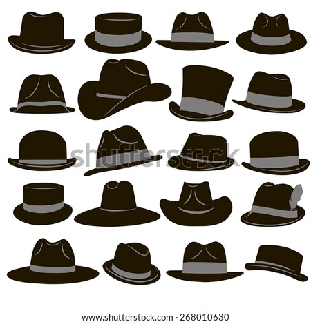 Collection of 20 icons of black man's retro hat with gray ribbons on a white background - stock vector