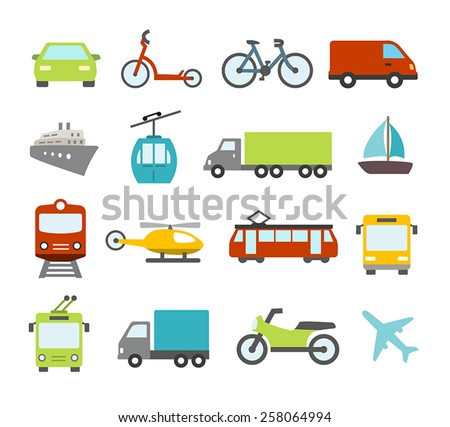Collection of icons related to transportation, cars and various vehicles. - stock vector