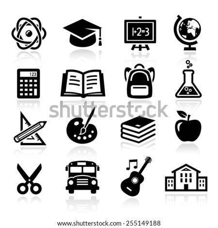 Collection of icons representing education, school and students. - stock vector