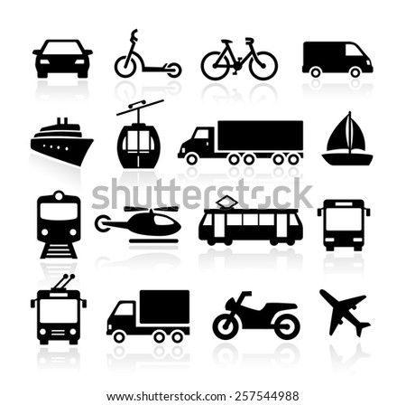 Collection of icons representing transportation and travel. - stock vector