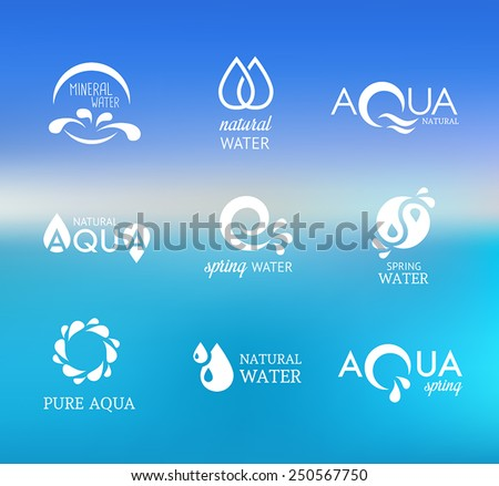 Collection of icons representing water and nature. - stock vector