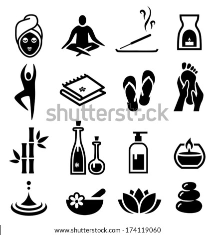 Collection of icons representing wellness, relaxation and spa. - stock vector