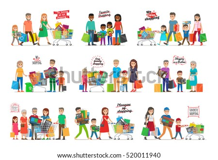 Collection of icons with family shopping. The history of our shopping. Favorite shopping. Pleasure of shopping. Shopping as pastime. Families gathered together with carts and goods inside. Vector