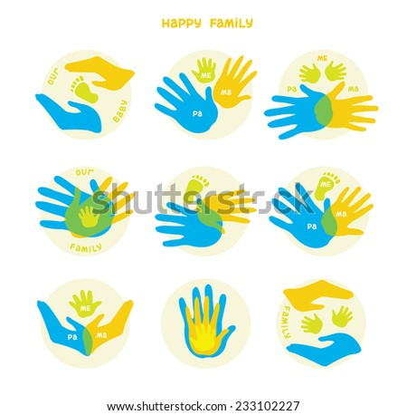 Collection of icons with human hands. Vector set with signs of love and care in family.