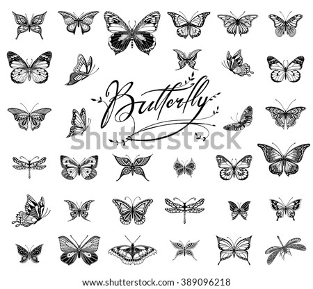 Collection of Illustrations of tattoo style butterflies - stock vector