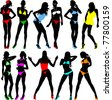 collection of images of beautiful women in colorful swimsuits; - stock vector