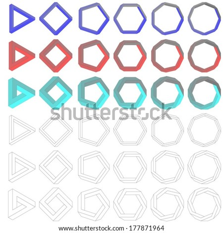 Collection of impossible Penrose polygons - vector version - stock vector