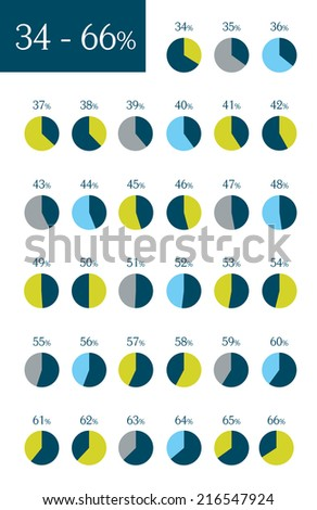 Collection of infographic percentage circle charts. 34% to 66%. Vector isolated elements.  - stock vector