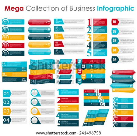 Collection of Infographic Templates for Business Vector Illustration - stock vector