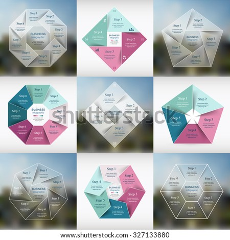 Collection of infographic templates for business with 4, 5, 6, 7 and 8 options or steps. Vector illustration can be used for diagram, graph, presentation and chart. - stock vector
