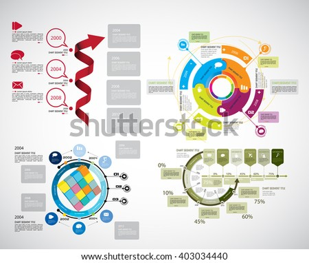 Collection of infographic vector design templates - stock vector