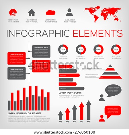 Collection of infographic vector illustration elements with world map and icons. Red and gray colour on gray background. - stock vector