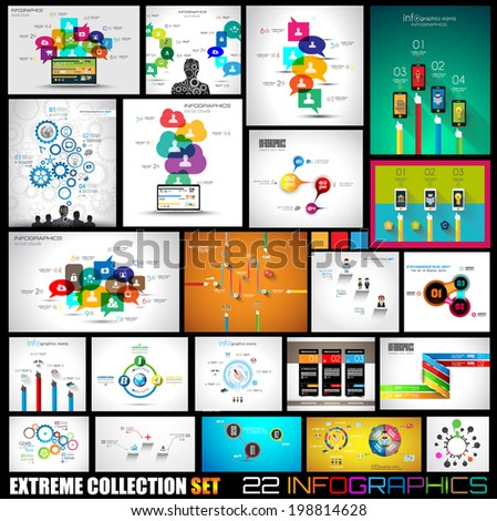 Collection of 22 Infographics for social media and clouds. Flat style UI design elements for your business projects, seo diagrams and solution ranking presentazions - stock vector