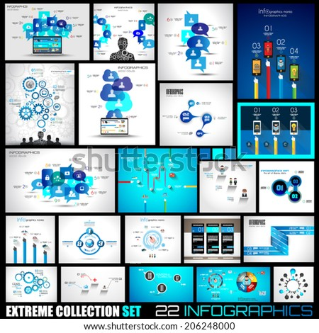 Collection of 25 Infographics for technology and clouds ranking Flat style UI design elements for your business projects, seo diagrams and solution ranking presentazions - stock vector