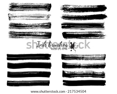 Collection of ink brushes - stock vector