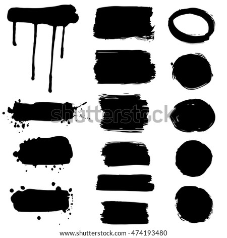 Collection of ink splatters - frames, vector