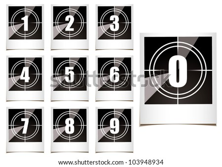 Collection of instant photographs with film type count down numbers - stock vector