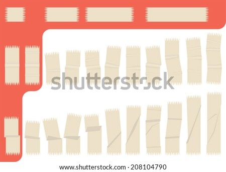 Collection of isolated adhesive tape - stock vector