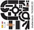 Collection of Isolated Connectable Highway Elements, Constructions and Various Vehicles. Vector Map Kit #1. Road Clip Art Series. - stock photo