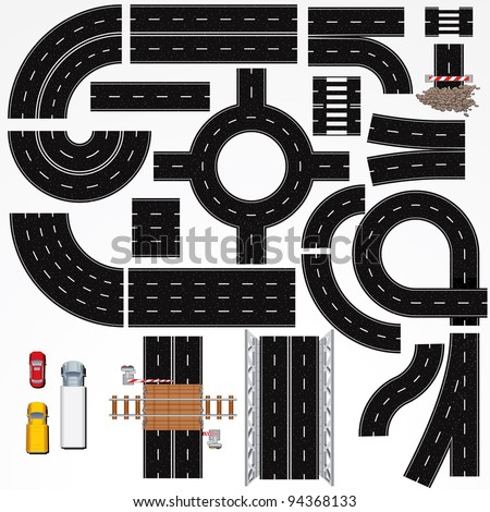 Collection of Isolated Connectable Highway Elements, Constructions and Various Vehicles. Vector Map Kit #1. Road Clip Art Series. - stock vector