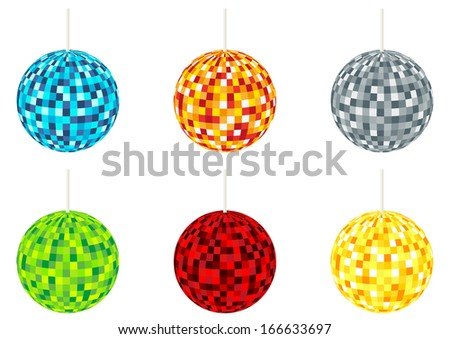 Collection of 6 isolated disco balls in different colors