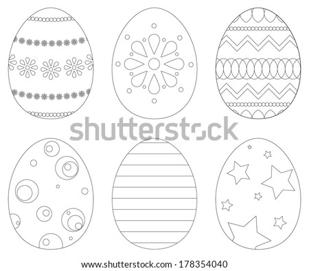 Collection of 6 isolated Easter eggs in coloring book style - stock vector