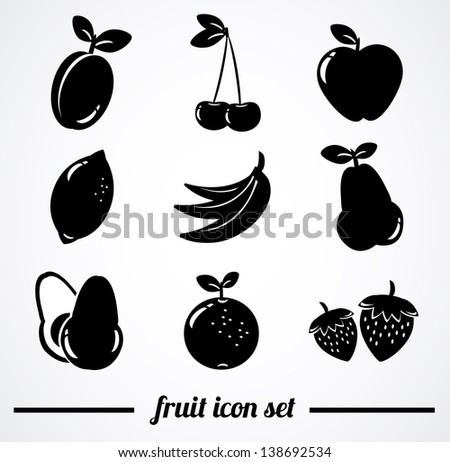 Collection of isolated fruit icons. Vector illustration. - stock vector