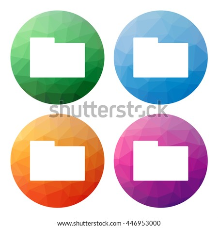 Collection of 4 isolated modern low polygonal buttons - mosaic abstract geometry icons for folder, directory, browse, upload, parent directory, download, archive, storage, etc. - stock vector